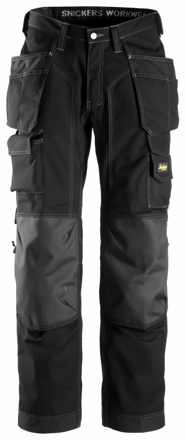 Snickers 3223 Rip-Stop Floorlayer Holster Pocket Trousers (Black / Black)